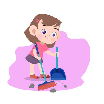 Kid girl sweeping broom illustration