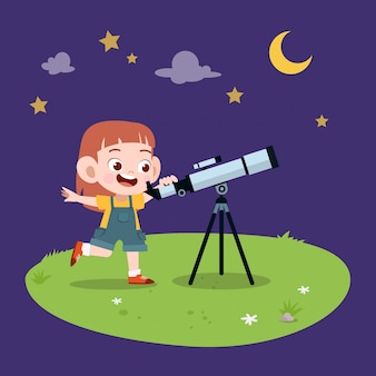Kid girl telescope