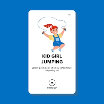 아이 소녀 훈련 점프 밧줄 액세서리 벡터입니다. 유치원 놀이터에서 점프하는 밧줄을 운동하는 작은 미취학 아동. 캐릭터 스포츠 운동 웹 플랫 만화 일러스트 레이션