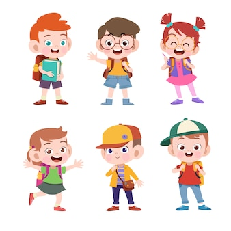 Kid go to school vector illustration isolated