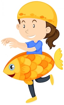 Kid in goldfish costume