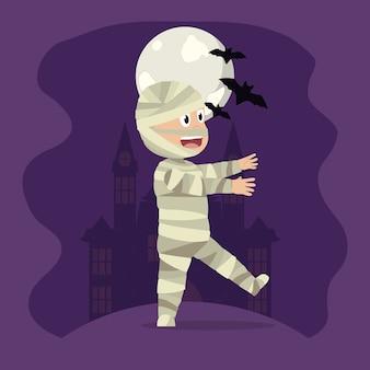 Kid in halloween cartoon