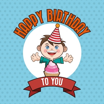 Kid happy birthday card cartoon