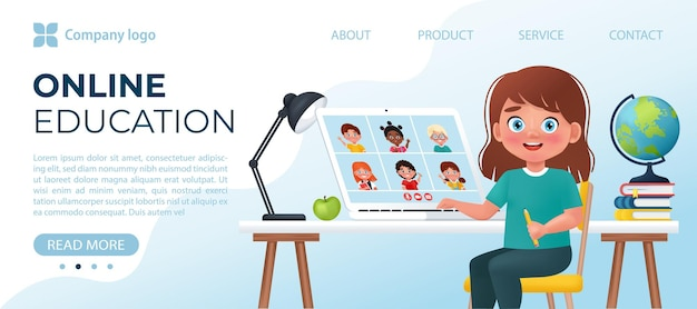 Kid have video conference with classmates on laptop online school vector illustration