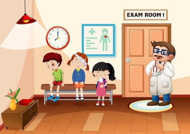 Ragazzo in ospedale con una scena da dottore