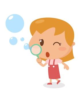Малыш дует пузыри