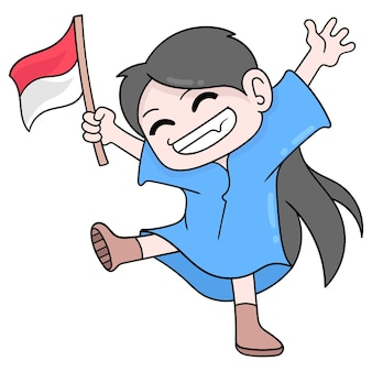 Kid is happy carrying the indonesian flag celebrating independence day, vector illustration art. doodle icon image kawaii.