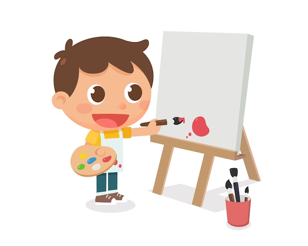A kid is painting on a canvas frame