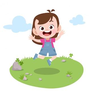 Kid jump in the garden vector illustration
