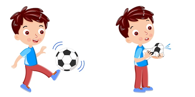 Kid kick the ball burst the ball vector