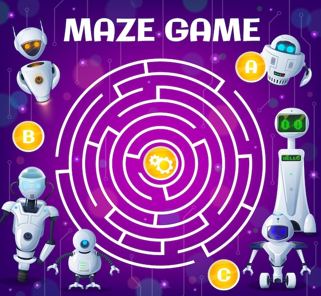 Kid labyrinth maze game, cartoon robots and droids. vector boardgame with ai cyborgs and androids. worksheet riddle with round field, tangled path, entries with gears in center. find correct way test