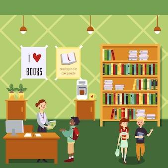 Интерьер детской библиотеки с мультипликационными детьми, держащими книги, и женщина-библиотекарем на кассе, дающей книгу маленькому мальчику. комната образования зеленой школы - иллюстрация