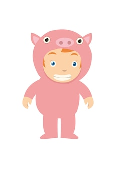 A kid looks happy wearing pig costume