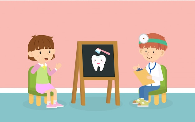 Kid meet the dentist at dental pediatric clinic for checkup teeth and gum health