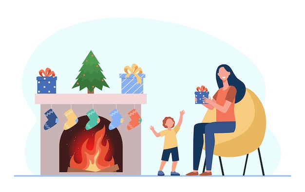 Kid and mom celebrating christmas. mother giving gift to boy at fireplace. cartoon illustration