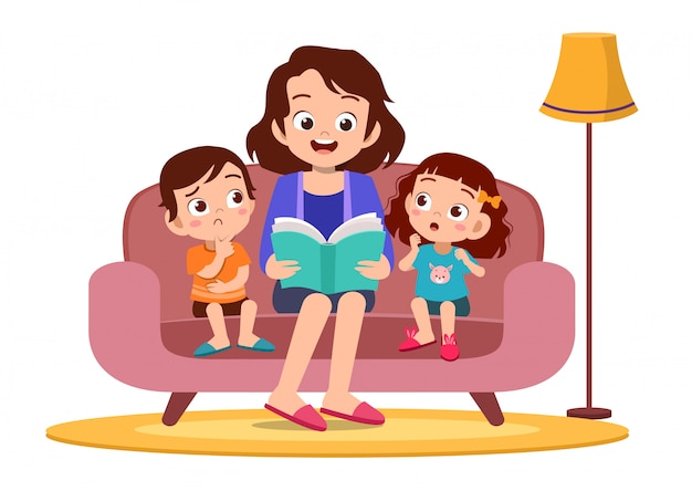 Kid and mother reading in sofa