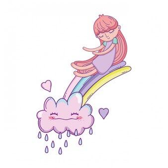 Малыш на радуге и облаках мультфильм