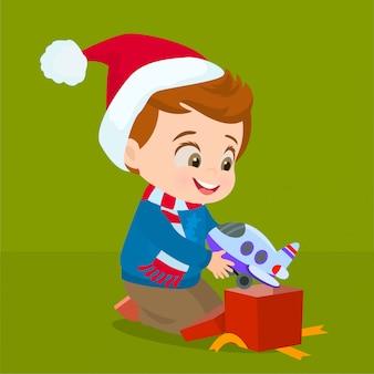 Kid opening gift box