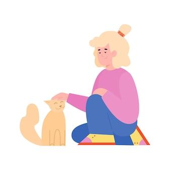 Малыш гладит кошку мультяшную девушку с домашним животным, сидящим на полу