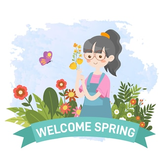 Kid picking flower with welcome spring greeting