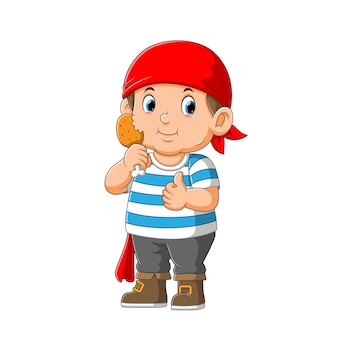 Kid pirate cartoon character holding fried chicken illustration