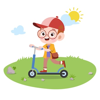 Kid play ride scooter vector illustration isolated