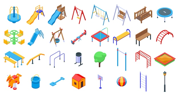 Kid playground icons set