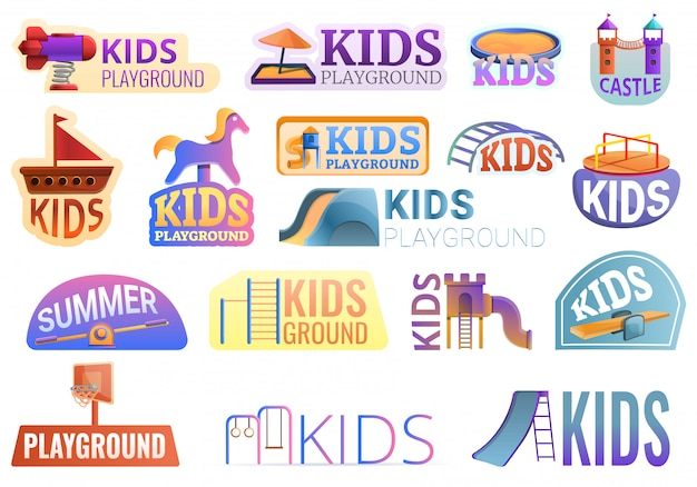 Kid playground outside logo set, cartoon style