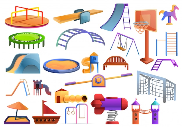Kid playground set, cartoon style