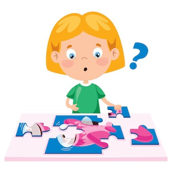 Kid playing colorful jigsaw puzzle