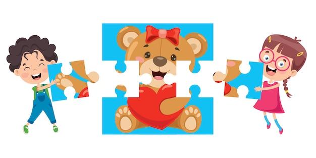 カラフルなジグソーパズルを遊んでいる子供