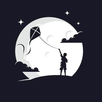 Kid playing kite силуэт против луны
