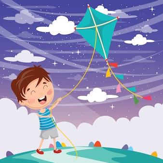 Векторная иллюстрация kid playing kite