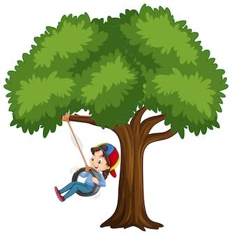 白い背景の木の下でタイヤスイングを遊んでいる子供