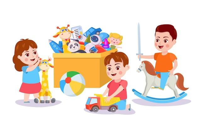 Малыш играет с игрушками. дети и ящик с машинками, кубиками и медведем. мальчик играет, притворяясь на лошадке-качалке. концепция вектора активности детей. ребенок с автомобилем и жирафом. веселые игры для друзей