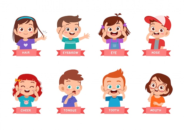 Kid pointing body part vector set