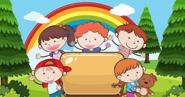 Kid under rainbow with banner
