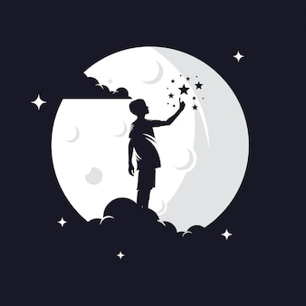 Kid reaching stars silhouette against moon