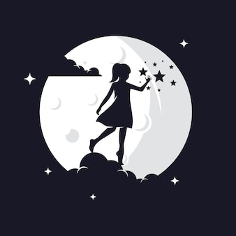 Kid reaching stars силуэт против луны