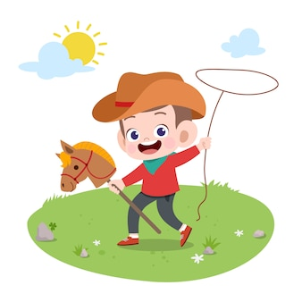 Kid riding horse vector illustration isolated