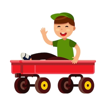 Kid riding on red wagon in flat style vector illustration