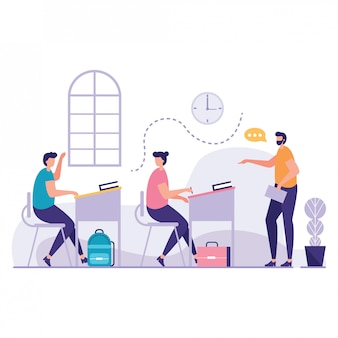Kid rising his hand in classroom vector