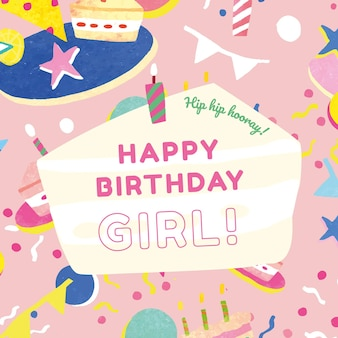 Kid's birthday greeting template vector for girl