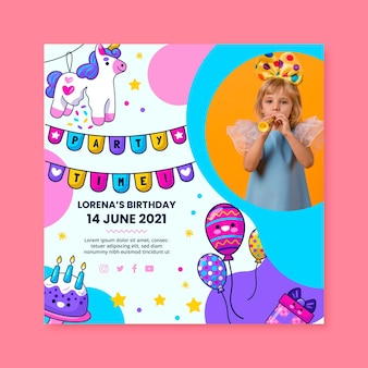Kid's birthday squared flyer template