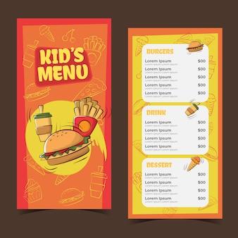 Modello di menu per bambini disegnato