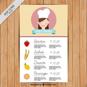 Modello di menu per bambini con ingredienti di design piatto