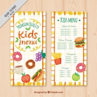 Kid's menu in watercolor style