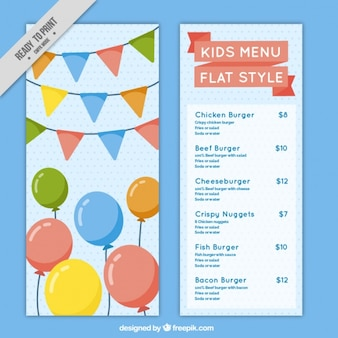 Menù per bambini con palloncini e ghirlande di design piatto