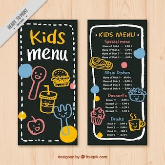 Menù per bambini con sfondo lavagna
