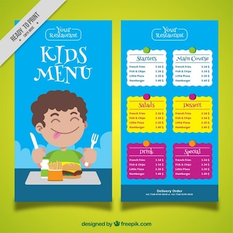 Kid's menu with boy enjoying his food